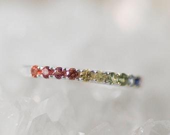 Stardust II - 14K White Gold Half Eternity Rainbow Sapphire Ring - Handmade Jewellery