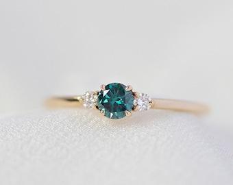 Freya - 14K Yellow Blue Diamond Ring