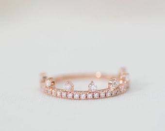 Mallorie Pavé  - 14K Rose Gold Diamond Half-Eternity Tiara Ring - Handmade Jewellery