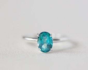 Ophelia - 14K White Gold Oval Teal Blue Topaz Ring - Handmade Jewellery