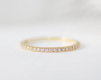 Stardust - 14K Yellow Gold Half Eternity Diamond Ring - Handmade Jewellery