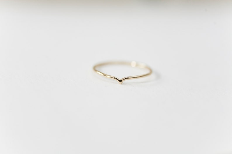 14K Yellow Gold Chevron Pointed Drop Ring  Handmade Jewellery image 0
