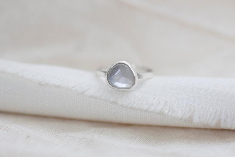Odette Ring  Sterling Silver Freeform Rose Cut White image 0