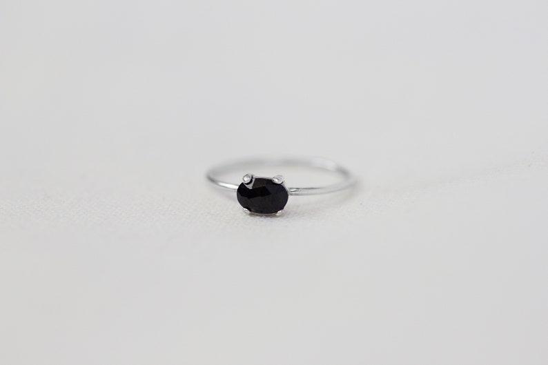 Chloe  Sterling Silver Oval Rose Cut Black Spinel Ring  image 0