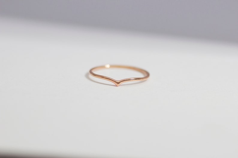 14K Rose Gold Chevron Pointed Drop Ring  Handmade Jewellery image 0
