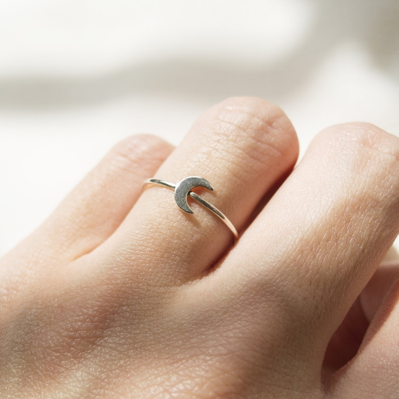 Crescent Moon Ring  Handmade 925 Sterling Silver Jewellery image 0