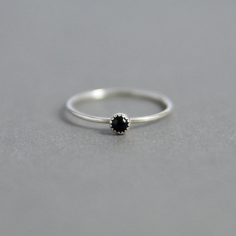 Tiny Black Onyx Sterling Silver Ring  Handmade 925 Silver image 0