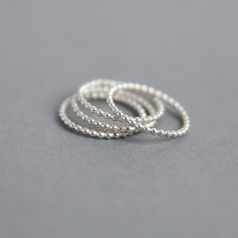 Sterling Silver Beaded Ring  Handmade 925 Silver Jewellery image 0