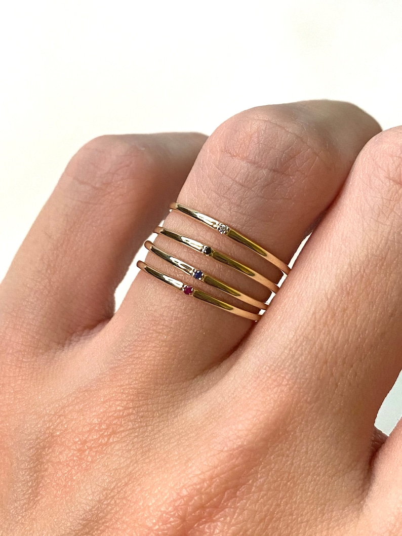 14K Yellow Gold Mini Blue Sapphire Ring Sirius