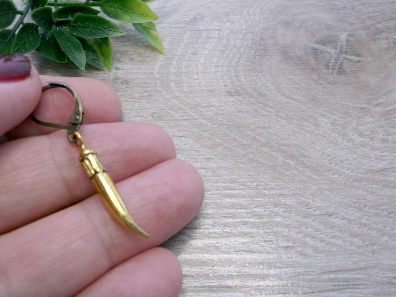 short horn dangle one men dangle goth earrings Magic dangle Tribal Earrings Native dangle Medieval single horn dangle Gold horn dangle