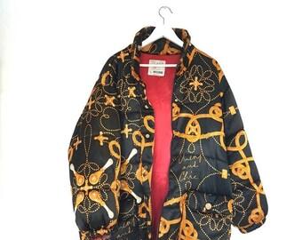 baf5462da88 vintage moschino coat - moschino bomber - 90s bomber jacket - moschino  vintage - unisex - windbreaker - chains pattern - mens coat