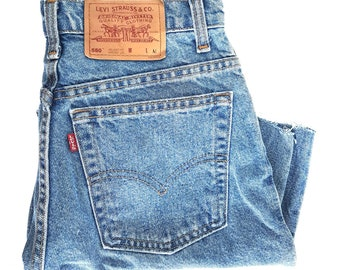 b08404a583e6c vintage Levis 550 relaxed fit blue wash- high wasted shorts- cut off - denim  shorts- womens denim- soft grunge