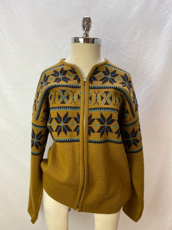 Vintage 1960s Jantzen Snowflake Zip Up Sweater