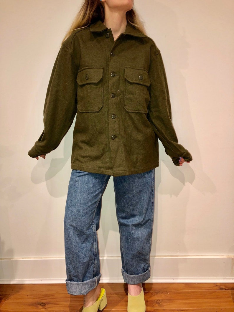 Army Green Military Button Up Flannel