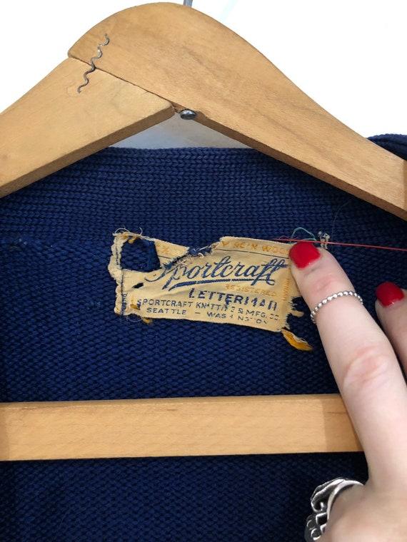 Vintage 1940s Royal Blue Varsity/Letterman Knit C… - image 2