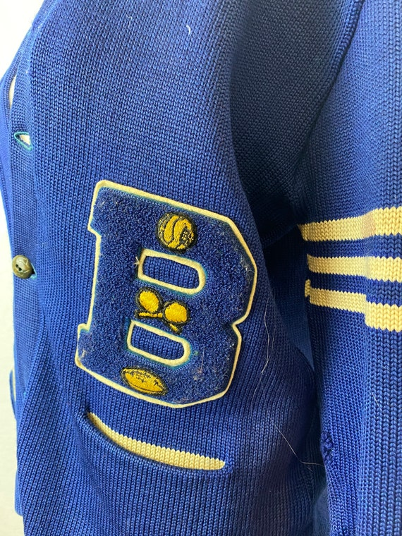 Vintage 1940s Royal Blue Varsity/Letterman Knit C… - image 3