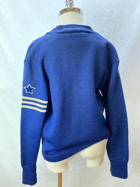 Vintage 1940s Royal Blue Varsity/Letterman Knit C… - image 5
