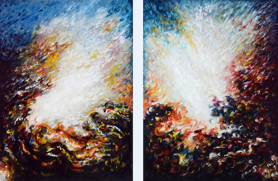 Wilderness Abstract Diptych Original Oil Paintings Modern Contemporary Impressionist Ocean Cosmic Reverberation Loveart By Harsh Malik