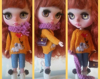 Elephant sweater, Mori Girl style for Blythe, Pure Neemo, Licca, Momoko. Outfit for dolls.