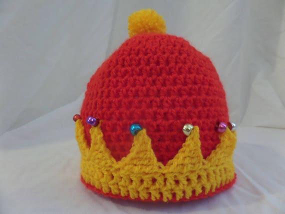 Royal Crown Beanie Hat Hand Crochet Beaded Novelty Gift  63832b4e553