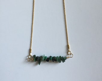 Emerald chip gemstone bar necklace - layering necklace - gifts for her - may birthstone - minimalist design - everyday jewelry - birthday