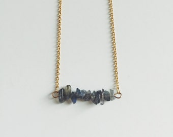 Labradorite gemstone bar necklace - gifts for her - bridal jewelry - modern bride - bridesmaid gifts