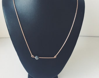 Rose gold filled bar necklace -grey marble - howlite - sliding bar pendant - Valentine's Day gift - gifts for wife - everyday dainty