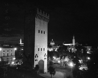 Florence Italy Travel Photography - black and white - Torre San Nicolo - Tower - Night - living room - Firenze - wall art