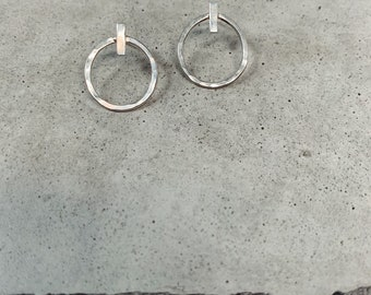 Circle + bar hoop earrings - sterling silver - everyday minimalist jewelry - summer trends - gifts for girlfriend - modern bride