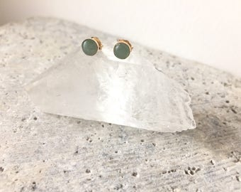 Green aventurine cabochon stud earrings - post earrings - modern minimal - boho jewelry - gifts for women - spring green