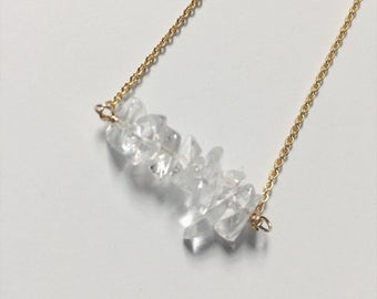Quartz bar necklace - gifts for her - bridal jewelry - modern bride - bridesmaid gifts - mother's day