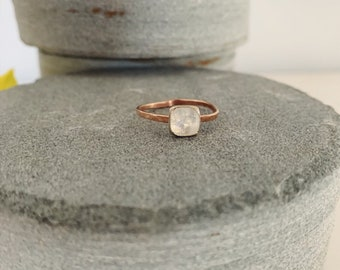 Rose cut rainbow moonstone stackable ring - boho luxe jewelry - June birthstone - rose gold filled - anniversary - birthday gifts - square