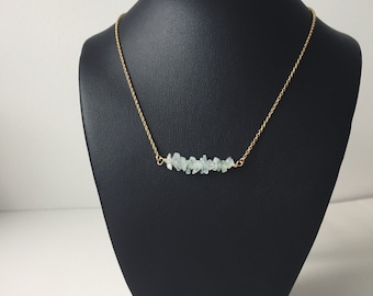 Gemstone Bar necklace - aquamarine chip - layering necklace - delicate necklace - everyday jewelry - March birthstone - birthday gift