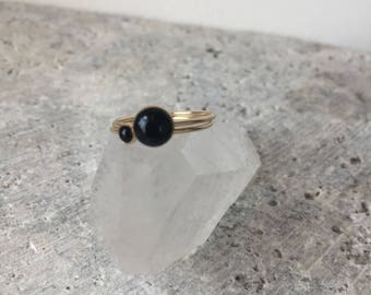 Onyx stackable ring - gold filled - sterling silver- bezel set - black and silver - minimalist jewelry - accessories -