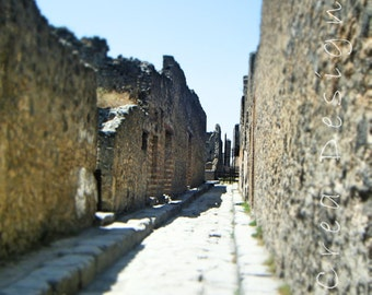 Travel Photography - Streets of Pompeii - Italy - Wall Art - Home Decor - Architecture - Roman History - Ruins - Archaeology