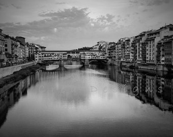 Black and white travel photography - Ponte Vecchio - Florence - Italy - wall hanging - living room decor - bedroom - Arno River - Tuscany
