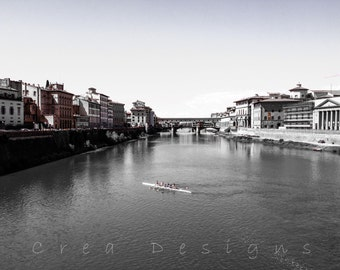 Black and White Florence Photography - Travel Photography - Rowers - Arno River - Italy - Wall Art - Home Decor - Unisex gifts
