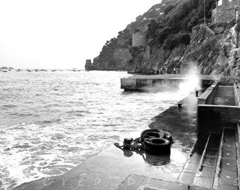 Black and White Positano Photography - Travel Photography - Beach Photogaphy - Amalfi Coast - Italy - Wall Art - Nautical Home Decor