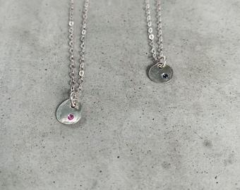 Ruby or sapphire coin necklace - july birthstone - September birthday gift - birthday gift - anniversary - precious gemstones