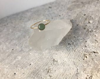 Green aventurine cabochon stackable ring - gold filled - sterling silver- bezel set - black and silver - minimalist jewelry - accessories -