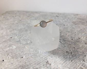 Stackable silver moonstone cabochon ring - gold filled - sterling silver- bezel set - black and silver - minimalist jewelry - accessories -