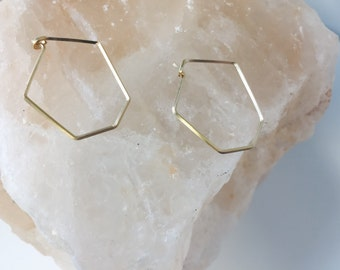 14k gold filled hexagonal hoop earrings - minimalist - modern - Valentine's Day - gifts for her - geometric jewelry