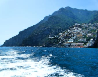Boating in Positano - summer beach decor - Amalfi Coast - Italy - travel photography - blue - housewarming gift