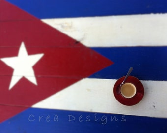 Cuban espresso wall art - kitchen and dining - bar and dining - photography - Cuban flag - coffee lovers gifts - art and collectibles