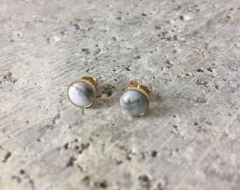 Bezel set stud earring - howlite - gold filled - cabochon - dainty - marble - modern minimal - fall trends - holiday gifts