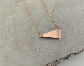 Rose gold filled triangle choker - dainty minimalist necklace - asymmetrical pendant  - geometric jewelry - spring trends
