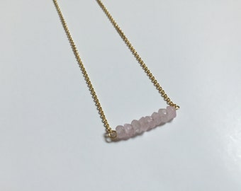 Rose quartz hand faceted rondelle bar necklace - pink - gifts for her - bridal jewelry - modern bride - bridesmaid gifts - Valentine's Day