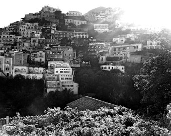 Black and White Positano Travel Photography - Amalfi Coast - Wall Art - Summer Gifts - Kitchen - Bedroom - Bathroom - Living Room