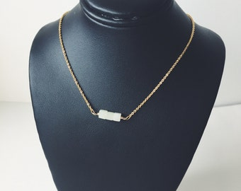 Serpentine cube gemstone bar necklace - three stone jewelry - everyday simple - layering necklace - bridesmaid jewelry - modern minimal