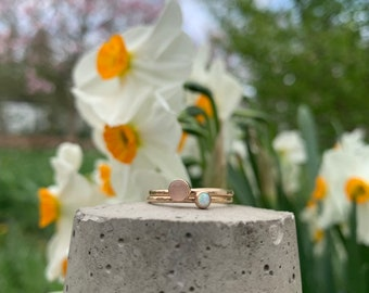 Dainty opal stackable ring - October birthstone - bridal accessories - gifts for her - wedding jewelry - Easter gifts - spring trends
